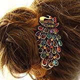 Europearn Classical Magnificent Peacock Spread With Vintage Phoenix Crystal Hair Pin Clip(Model:M010549)