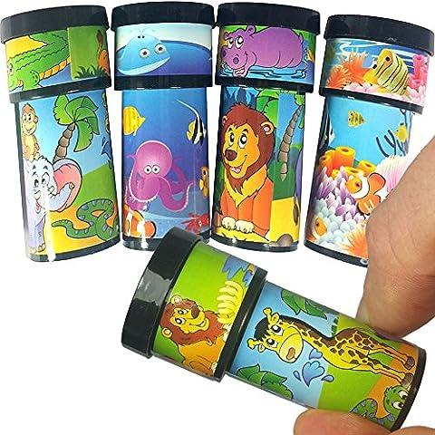 German Trendseller® - 12 x mini-kaléidoscopes des animaux┃différentes motifs┃petit cadeau┃