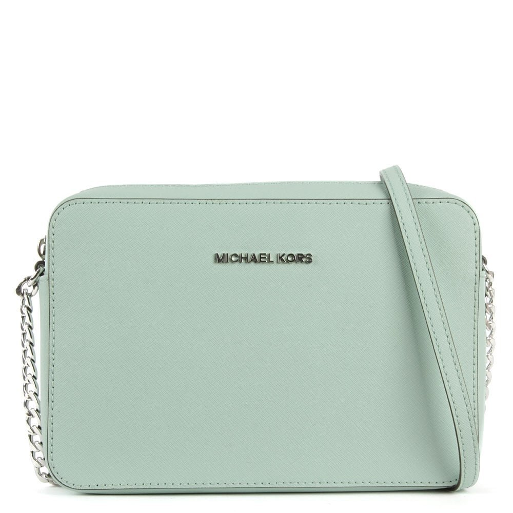 bbd9fa7660 Michael Kors Jet Set Travel Large Celadon Leather EW Cross-Body Bag ...
