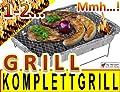 BTV 10 x Komplettset Einweggrill Edelstahl Grill Holzkohlegrill Klappgrill Gartengrill Picknickgrill MIT HOLZKOHLE - SCHNELL UND SICHER GRILLEN - Faltgrill