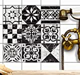 creatisto Fliesen deko Fliesenfolie u. Fliesenaufkleber | Fliesen überkleben Fliesenaufkleber für Deko Badezimmer Wandfliesen - Fliesenfolie Bad | 15x15 cm - Motiv Marmor Muster - 18 Stück