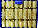 Fill Your Own Christmas Crackers - Box of 8 Gold Snowflake Design by Crackers Ltd (Cat F1)