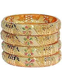 Mansiyaorange Tradional Fancy Designer Casual Orignal Look Meena Hand Work Party Wedding Wear One Gram Gold Golden Bangles for Women Stylish