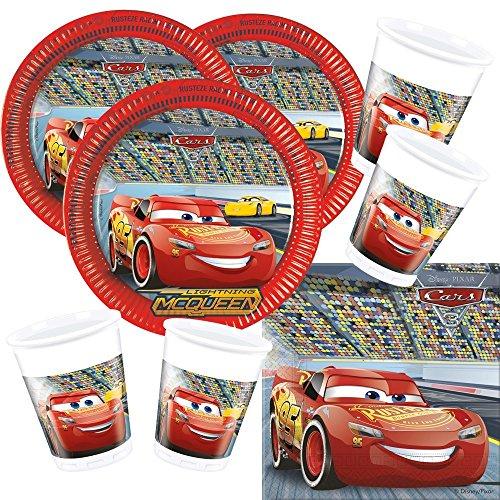 52-teiliges Disney PIXAR Party-Set Cars 3 - Teller Becher Servietten für 16 Kinder