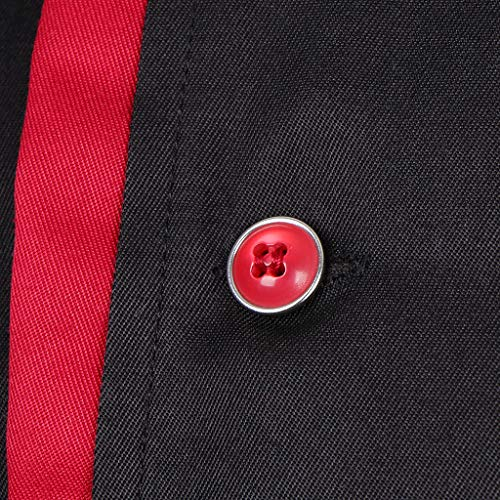 F Fityle Männer Frauen Kochjacke Langarm M-3XL Bäcker Kochhemd Bäckerjacke Kochbekleidung Gastronomie Arbeitskleidung Arbeitsjacke - Schwarz, L - 6