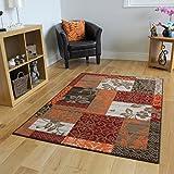 The Rug House Patchwork Teppich, in Braun, Rot, Orange, Beigen & Creme, in 5 Größen erhältlich