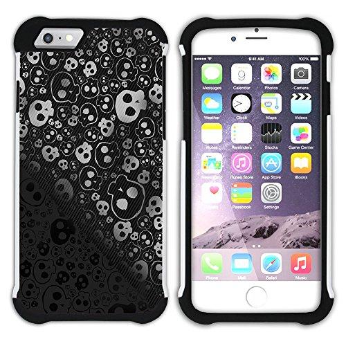 Graphic4You Skull Death Theme Muster Design Hart + Weiche Kratzfeste Hülle Case Schale Tasche Schutzhülle für Apple iPhone 6 Plus / 6S Plus Design #9