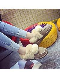 Chicas Invierno Botas de Nieve Lindo Estudiantes de Tubo Corto Más Botas de Terciopelo Botas de Algodón Plano Salvaje,Caqui,36