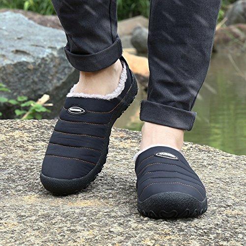 Kuuland Pantofole da Uomo Donna Invernale Calda è Foderata in Pelliccia Leggera Antiscivolo Nero