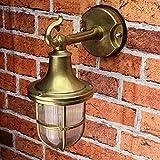 Premium Außenwandleuchte Messing echt rostfrei rustikal massiv Rillenglas Käfigschirm Wandlampe Terrasse Hauswand - 2