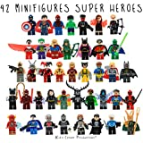 Kids Corner Productions® - Super Heroes Lego Figuras 42 Set Lot Mini Figuras Marvel and DC Comics - Bolso de fiesta con Batman, Spiderman, IronMan, Thor, DeadPool y muchos más - Compatible con Lego ...