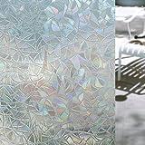"""3D Pellicola per Finestre Vetri Coolzon® Privacy Smerigliata Finestra Geometria Decorative Autoadesive Privacy Adesiva Anti-UV per Cucina Ufficio Bagno 17.7""""x78.7""""(45x200cm)"""