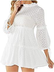 فستان Sceoyche حريمي قصير مكشكش برقبة دائرية وأكمام طويلة مجوف للخارج