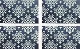 4er Tischset: klassisch florales Design - Tisch Matten / Platzdeckchen / Tischunterlage/ Essunterlage/ Platzset aus Kunststoff abwaschbar 42 x 28 cm - schwarz/ weiß