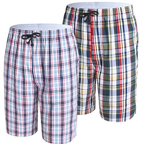 JINSHI Herren Schlafanzughosen Baumwolle Karierte Pyjamahose Nachtwäsche Kurz Sommerhose mit Taschen 2er Pack Größe M