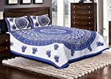 #6: Jaipuri haat Traditional Print Cotton Double Bedsheet with 2 Pillow Covers - King , MultiColor