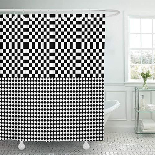 Luancrop Duschvorhang Bauhaus Schwarz Weiße Quadrate und Rauten Optisch abwechselndes, paralleles, wasserdichtes Polyester-Gewebeset mit Haken