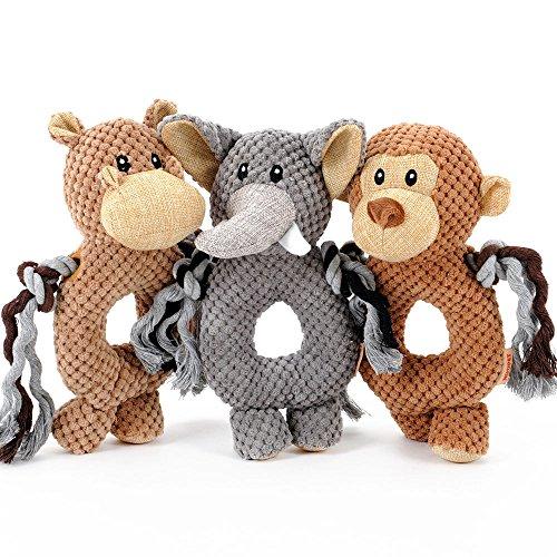 Pet Online Pequeño Mono pet sound toys cuerda de algodón Peluche Perro...