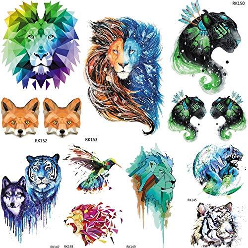 lihaohao Galaxy Aquarell Geometrische Lion Tribal Leopard Temporäre Tätowierung Aufkleber Männer Tattos Body Art Flash Gefälschte Kinder Tatoo10X6Cm 7 Stück