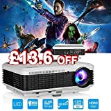 """4500 Lumen HD Video Projector WXGA - 1080P Support Dual HDMI & USB Multimedia LCD Image System Home Theatre Projectors 150"""" Widescreen for Computer TV DVD Player Laptop Outdoor Basement Movie Holiday Party"""
