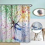 Wasserdichte Duschvorhang, ZSZT Duschvorhang Polyester 3D Druck Bunte Baum für die ganze Saison, Badezimmer Dekoration ( 150 x 180 cm ) Geschenk Duschhaube
