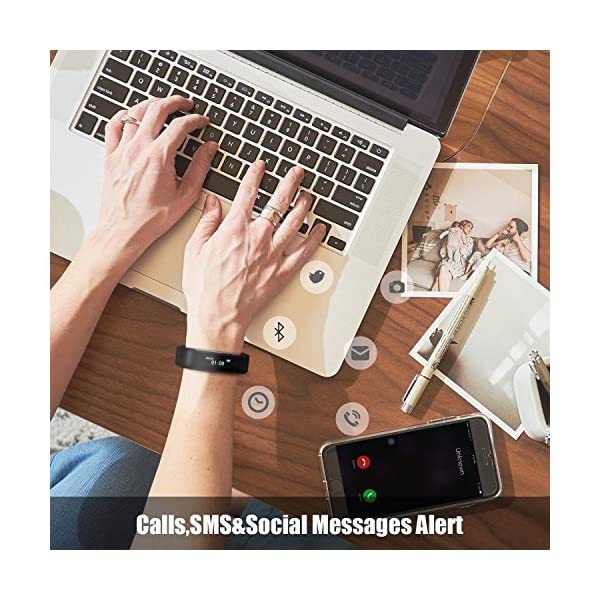 COOLEAD Fitness Tracker Pulsera Inteligente IP67 Waterproof Bluetooth Pulsera inteligente -Correa Libre 5