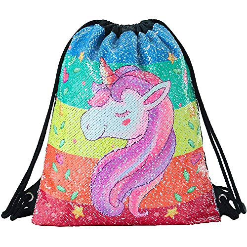 Mabell Deeplive Fashion Mermaid Drawstring Bag Magic Reversible Sequin Backpack Glittering Dance Bag,School Bag,Outdoor Sports for Girls Women Kids -