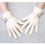 Damen Lederhandschuhe, Leder, SAMT, Winter warme Damen Lederhandschuhe, weiß, M