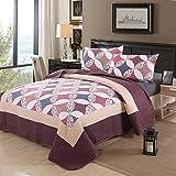 Tagesdecke Schlafzimmer Polyseter Moderne Bettüberwurf 3 Teilig Gesteppte  Bettwäsche Sets Garnitur 230*250 Patchwork Mit