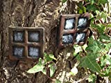 Pair of Stone Fairy Windows Square Design Perfect to accompany your fairy door or add to your fairy garden