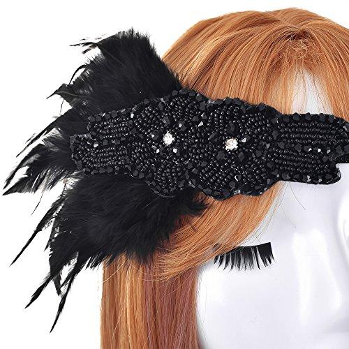 LONGBLE 20er Jahre Flapper Stirnband mit Feder Accessoires Stirnbänder Damen Kopfschmuck Haarband Gatsby Damen Kostüm Accessoires ()