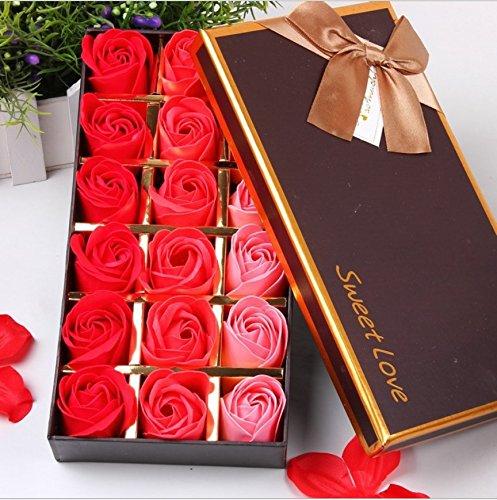 Handmade Rose Scented Bath Soap Petals Scented Bath Soap Rose Petal in Gift Box, 18pcs (Red)