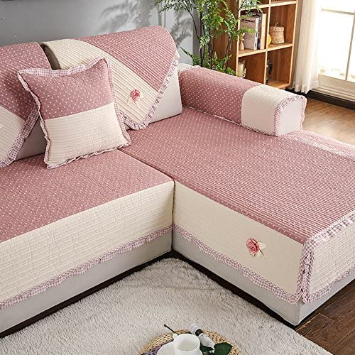 Nclon Copridivano Asciugamano divano Trapuntato Estate Sottile,Di cotone Tessuto Anti-slittamento Trapuntato divano couch Fodera copridivano Couch prossoector 1 2 3 4 Posti-rosa 90x160cm(35x63inch) 366b97