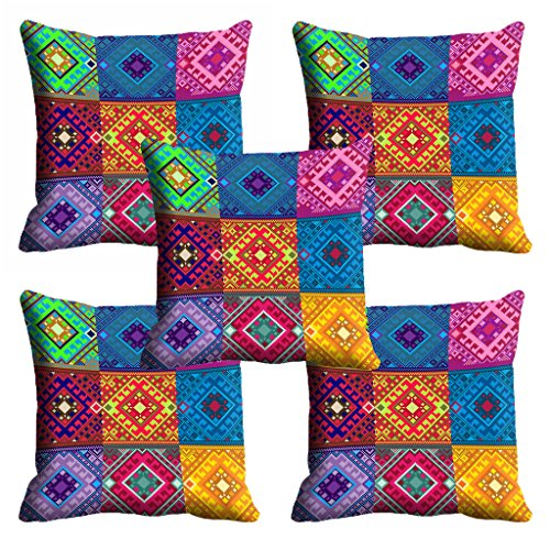 meSleep Multi Color Ethnic Cushion Cover (16x16) - Set of 5