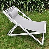 Sdraio da giardino, con poggiatesta, regolabile Floding Sling spiaggia sedia, sedia a sdraio reclinabile da giardino con cuscino, telaio in alluminio antiruggine