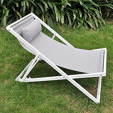 Jardin Chaise longue avec repose-tête réglable, Floding Beach Sling Chaise, chaise longue de jardin inclinable avec taie d'oreiller, cadre en aluminium antirouille