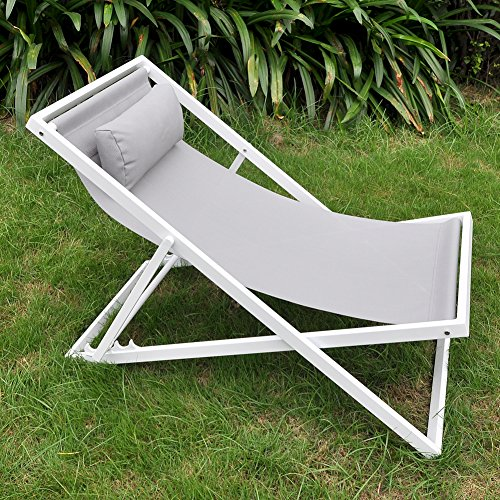 Garten Liegestuhl mit Kopfstütze, verstellbar Floding Beach Sling Stuhl, Garten liegend Sonnenliegen mit Kissen, Korrosionsschutz Aluminium Rahmen (Chic-computer-taschen)