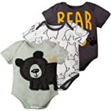 Miyanuby Toddler Baby Girls Ruffled-Sleeve Plain Crewneck Cotton Romper Bodysuit Clothes with Headband