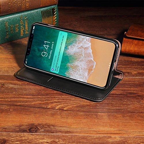Wkae Retro verrückte Pferdebeschaffenheit beiläufige Art-horizontaler Schlag-Leder-Kasten mit Halter u. Karten-Schlitze u. Mappe, kleine Quantität Empfohlen vor iPhone X, das für iPhone X startet ( Co Black