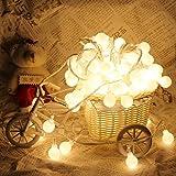 LED Globe Lichterkette Innen Deko Glühbirne 10 Meter 100er Lichter Ball Fee Licht, DC EU Stecker Mit 8 Modi Controller Für Patio, Hochzeit, Party (Warme Weiße)