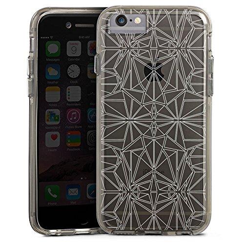 Apple iPhone 6 Bumper Hülle Bumper Case Glitzer Hülle Transparent mit Muster Kaleidoskop Mandala Bumper Case transparent grau