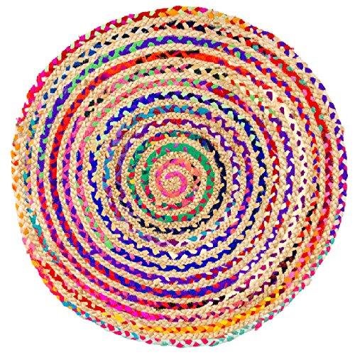 Morgenland Jute Sisal Teppich SISALO 90 x 90 cm Runder Teppich Natur Teppich Bunt Handgewebter Teppich Handwebteppich Einfarbig Kurzflor Flachgewebe Eingangsbereich Badezimmer Flur Indoor Outdoor Beidseitig - Natur-badezimmer-teppich