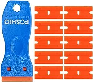 Foshio Plastik Schaber Mit 10 Kunststoffklingen Für Auto Fenster Um Aufkleber Zu Entfernen 4 Cm Küche Haushalt