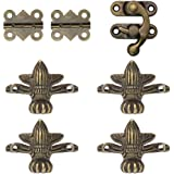 LUCY WEI Bronzen houten kistje poten accessoires antiek, 4 stuks decoratieve meubelhoekpoten, 1 stuk sloten en 2 scharnieren