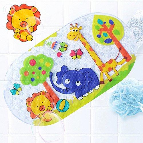 Badewannenmatte Wanneneinlage FüR Kinder Und Babies Aus Naturgummi Bietet ErhöHte Sicherheit FüR Sie Und Ihre Kinder im Bad 39X69CM (Zoo) (Haut-teppich)