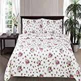 Skipper Furnishings Quilted and Reversible Microfibre Double Bed Spread and 2 Pillow Covers - Floral, Multicolour