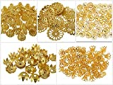 #2: Generic Fancy Most Popular Gold Bead Cap Designs for Jewellery Making, Pack of 250 Caps