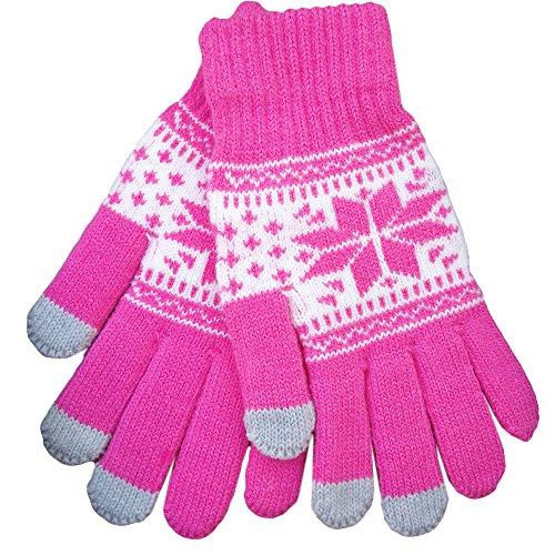 iEverest Sown Unisex Touchscreen Handschuhe Lover Handschuhe dicke Handschuhe Smartphone Touchscreen Handschuhe für das Fahren und Telefonieren für alle touchsensitiven Display (Rose red)