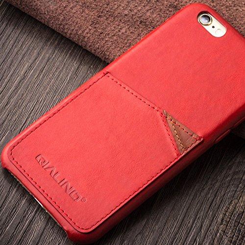 iphone6s, 6S Plus Étui ultra fin, Bumper Coque arrière en cuir véritable pour 11,9cm Apple téléphone, qialino fabriqué à la main doux et protection d'écran avec dos fente pour carte pour iPhone 3S/6S iphone6s plus Red
