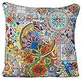 Mosaic Kissenbezug, Blumen Kissen, Blau Zierkissenbezug Kissenhülle 40cm x 40cm